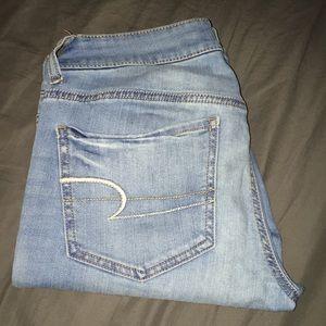super stretch light wash American eagle jeans